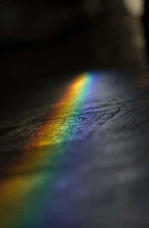 a great rainbow over the floor Stock Photo