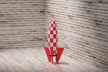 desolation: 3d rendering of a red and white rocket and stars