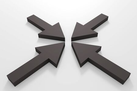teamwork together: 3d rendering of some black arrows on a white floor Stock Photo