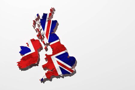 uk map: 3d rendering of an uk map with a flag stamped Stock Photo
