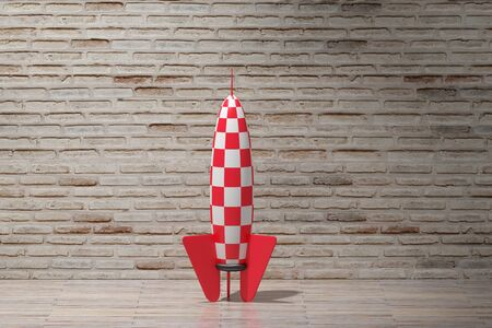 desolation: 3d rendering of a red and white rocket on an empty room