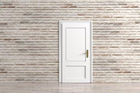 room door: 3d rendering of a rustic room with a door Stock Photo