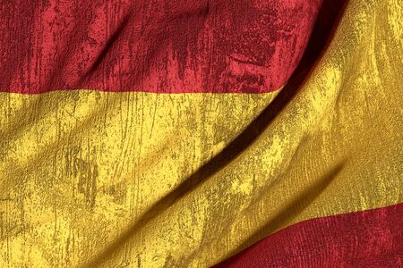 spain flag: 3d rendering of an old and dirty Spain flag
