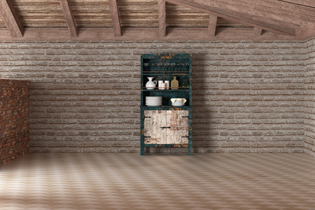 sideboard: 3d rendering of a sideboard in empty house against of brick wall