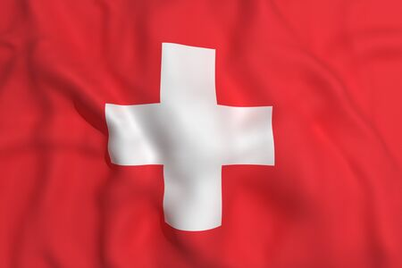 switzerland flag: 3d rendering of a Switzerland flag waving