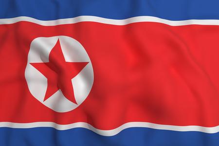 korea flag: 3d rendering of a north korea flag waving Stock Photo