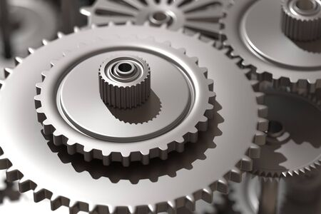 cog wheels: 3d rendering of a close-up of steel cog wheels