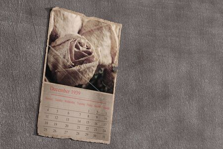 flashback: 3d rendering of an old calendar page on grey textured background. December 1939 Stock Photo