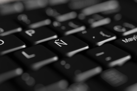 keyboard: 3d rendering of a close-up of black spanish keyboard