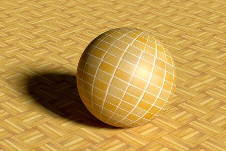 glazed: 3d rendering of a yellow sphere made of glazed tile on floor Stock Photo