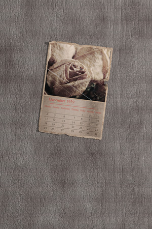 recollection: 3d rendering of an old calendar page on grey textured background. December 1939 Stock Photo