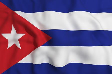 bandera cuba: 3d prestaci�n de una bandera ondeando Cuba