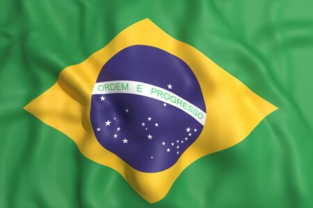 foreign country: 3d rendering of a brazil flag waving