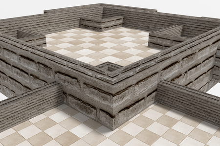 chequer: 3d rendering of some chess boards on white background.
