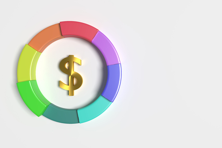 threedimensional: 3d rendering of a dollar symbol in the middle of colorful diagram. Illustration. Three-dimensional. Stock Photo