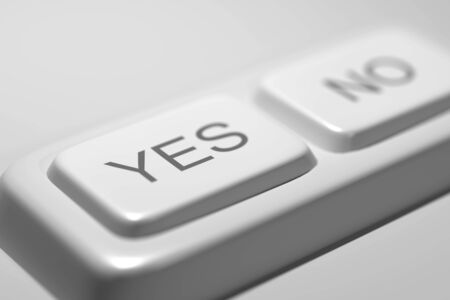 answer approve of: 3d rendering of a close-up of Yes and No white buttons. Illustration Stock Photo