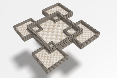 chequer: 3d rendering of five chess boards on white background. From above
