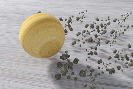 jupiter: 3d rendering of Jupiter rolling fast. Stone fragments following it.Illustration