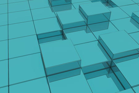 extruded: 3d rendering of extruded blue glass cubes.Illustration
