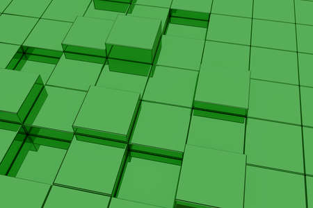 extruded: 3d rendering of extruded green glass cubes.Illustration Stock Photo