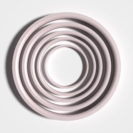 threedimensional: 3d rendering of a white three-dimensional circles on white background.From above Stock Photo