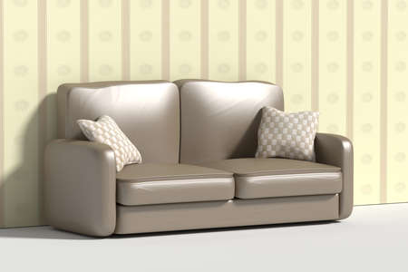 pillows: 3d rendering of al sofa with pillows against of wall decorated with wall-paper Stock Photo