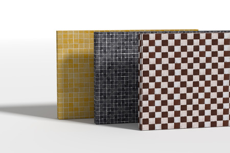 glazed: 3d rendering of three checked walls made of different glazed tile: yellow, black and brown. Stock Photo