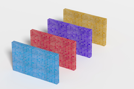 glazed: 3d rendering of four colorful walls made of ceramic glazed tile on white background
