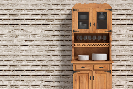 3d rendering of a close-up of sideboard with crockery against of brick wall