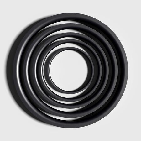 threedimensional: 3d rendering of a black  three-dimensional circles on white background.From above