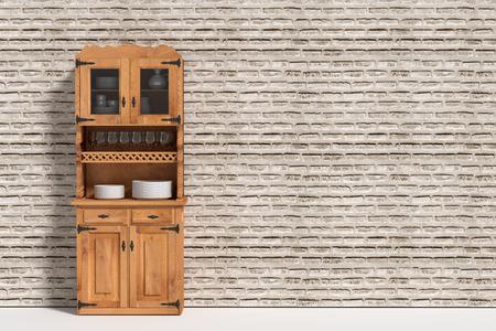 sideboard: 3d rendering of a three-dimensional sideboard  against of brick wall