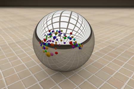 floor ball: 3d rendering of a cose-up of steel ball reflecting many colorful balls. Glazed tile floor