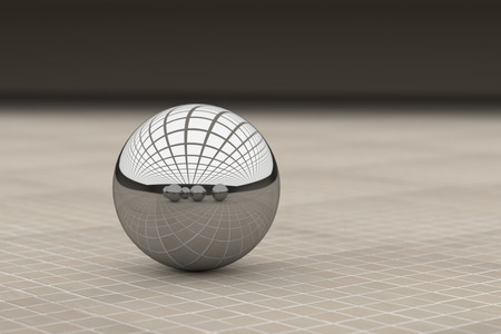 3d rendering of cose-up of metal ball reflecting different balls on glazed tile floor