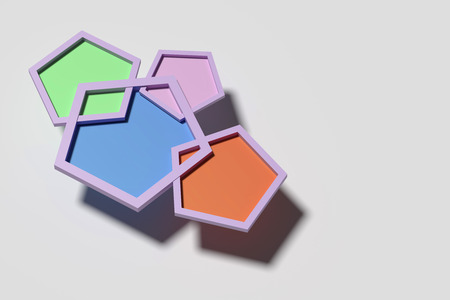 three cornered: 3d rendering of Four colorful pentagons casting shadow on white background Stock Photo