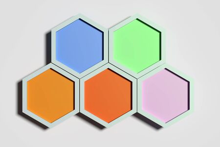3d rendering of five colorful three-dimensional hexagons on white background