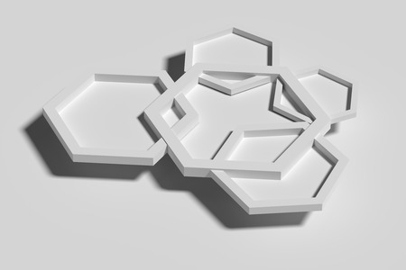 3d rendering of five white three-dimensional hexagons casting shadow on white background.