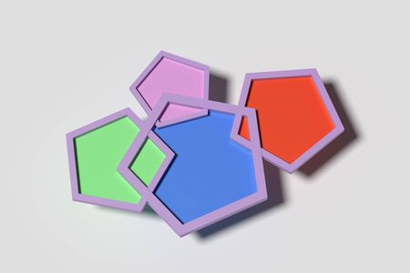 four objects: 3d renderig of four five-corned colorful objects on white background.