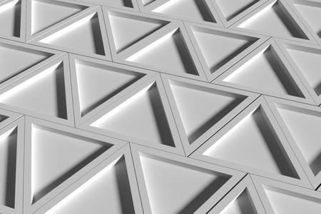 threedimensional: 3d rendering of a close-up of three-dimensional white triangles. Stock Photo