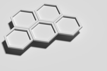 casting: 3d rendering of five white three-dimensional hexagons casting shadow on white background.