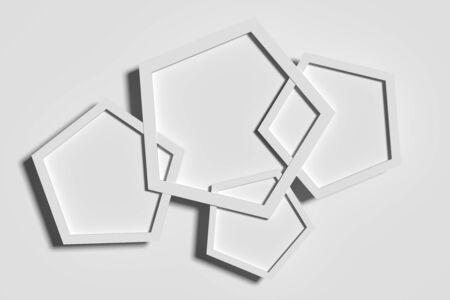casting: 3d rendering of white pentagons casting shadow.