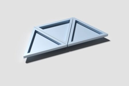 casting: 3d rendering of three triangles casting shadow on white surface. Stock Photo