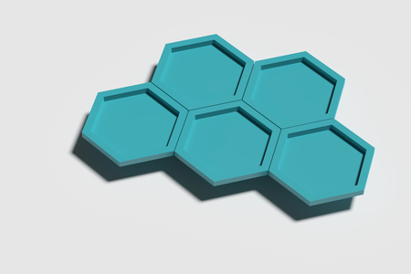 threedimensional: 3d rendering of five blue three-dimensional hexagons casting shadow on white background. Stock Photo