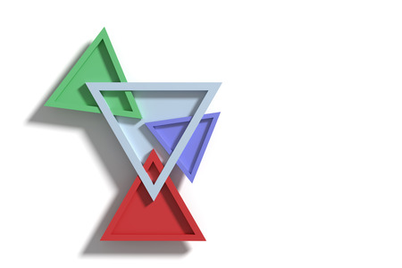 casting: 3D rendering of four colorful three-dimensional triangles crossing each other and casting shadow on surface. Stock Photo