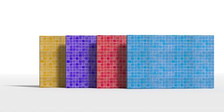 white tile: 3d rendering of four colorful walls made of ceramic glazed tile on white background