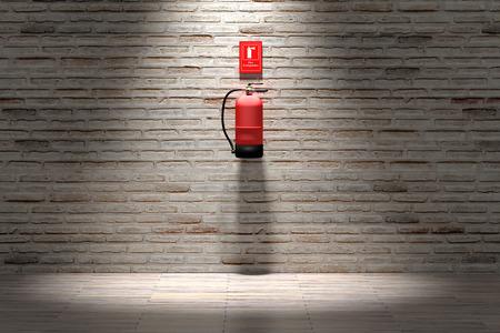 レンガの壁に掛かっている消火の 3 d レンダリングします。 写真素材