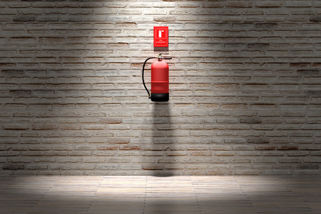 3d rendering of a fire extinguisher hanging on brick wall.