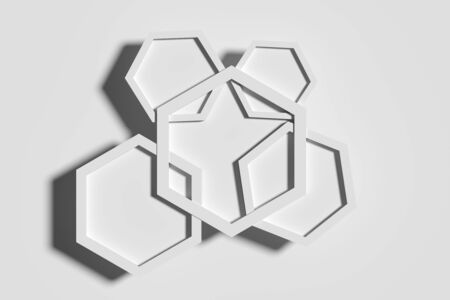 from above: 3d rendering of five white hexagons crossed each other. White background. From above