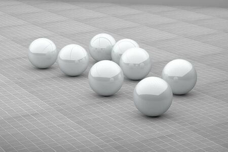 several: 3d rendering of several white futuristic balls on ceramic floor.