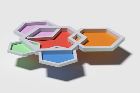 casting: 3d rendering of five colorful three-dimensional hexagons from above casting shadow   on white background. Stock Photo