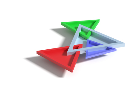 threedimensional: 3D rendering of four colorful three-dimensional triangles crossing each other and casting shadow on surface. Stock Photo